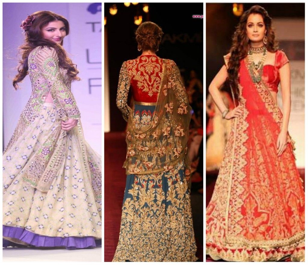 Top 10 highly fashionable Bridal Lehengas  The harmonious colour combinations, the attractive design aesthetics, the gleams and glitters  and ravishing showstoppers together make  Lakme Fashion Week  presentation a breathtaking affair .