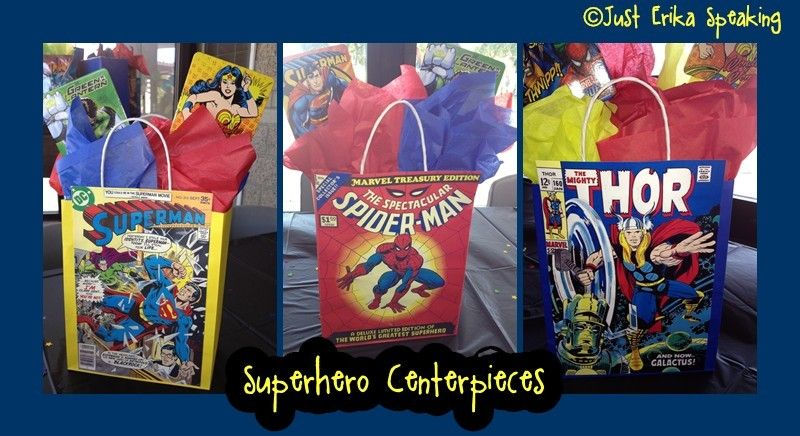 Superhero Centerpieces www.just-erika-speaking.blogspot.com