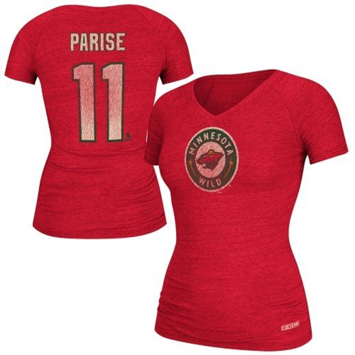 cheap for discount df7b7 fc939 Zach Parise Minnesota Wild Ladies Name & Number V-Neck T ...