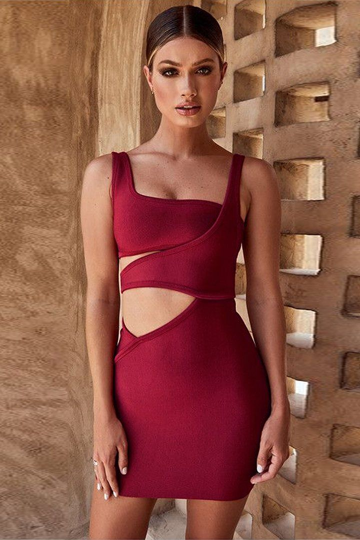 ced3908dfc Rust Red Bandage Cut Out Mini Dress – iulover