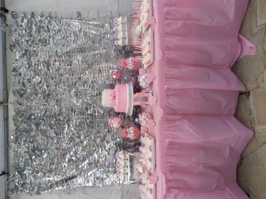 baby shower dessert table idea, pink and grey themed.