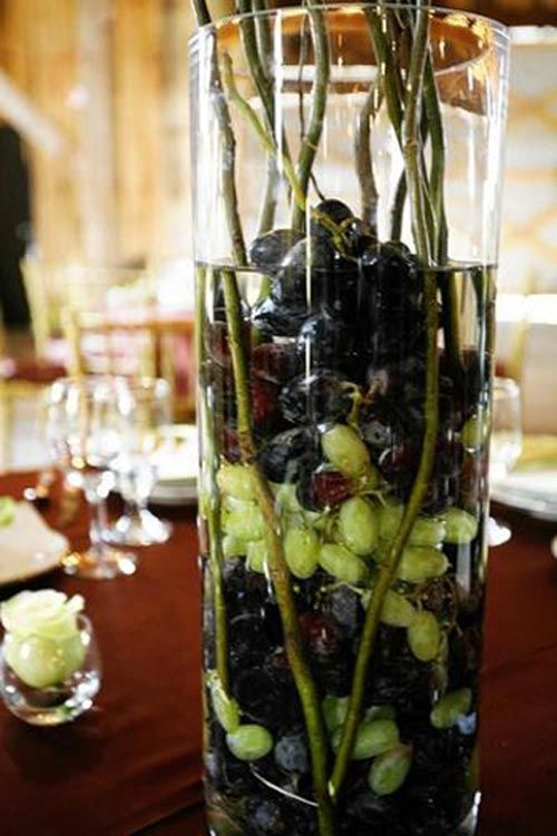 The page has so many neat ideas for vineyard weddings i especially the page has so many neat ideas for vineyard weddings i especially love this centerpiece note to self maybe use plastic grapes to save some junglespirit Gallery