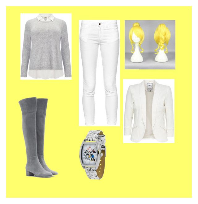 """""""Yella and Gray"""" by flavs1022 on Polyvore featuring Gianvito Rossi, Studio 8, French Connection and Disney"""