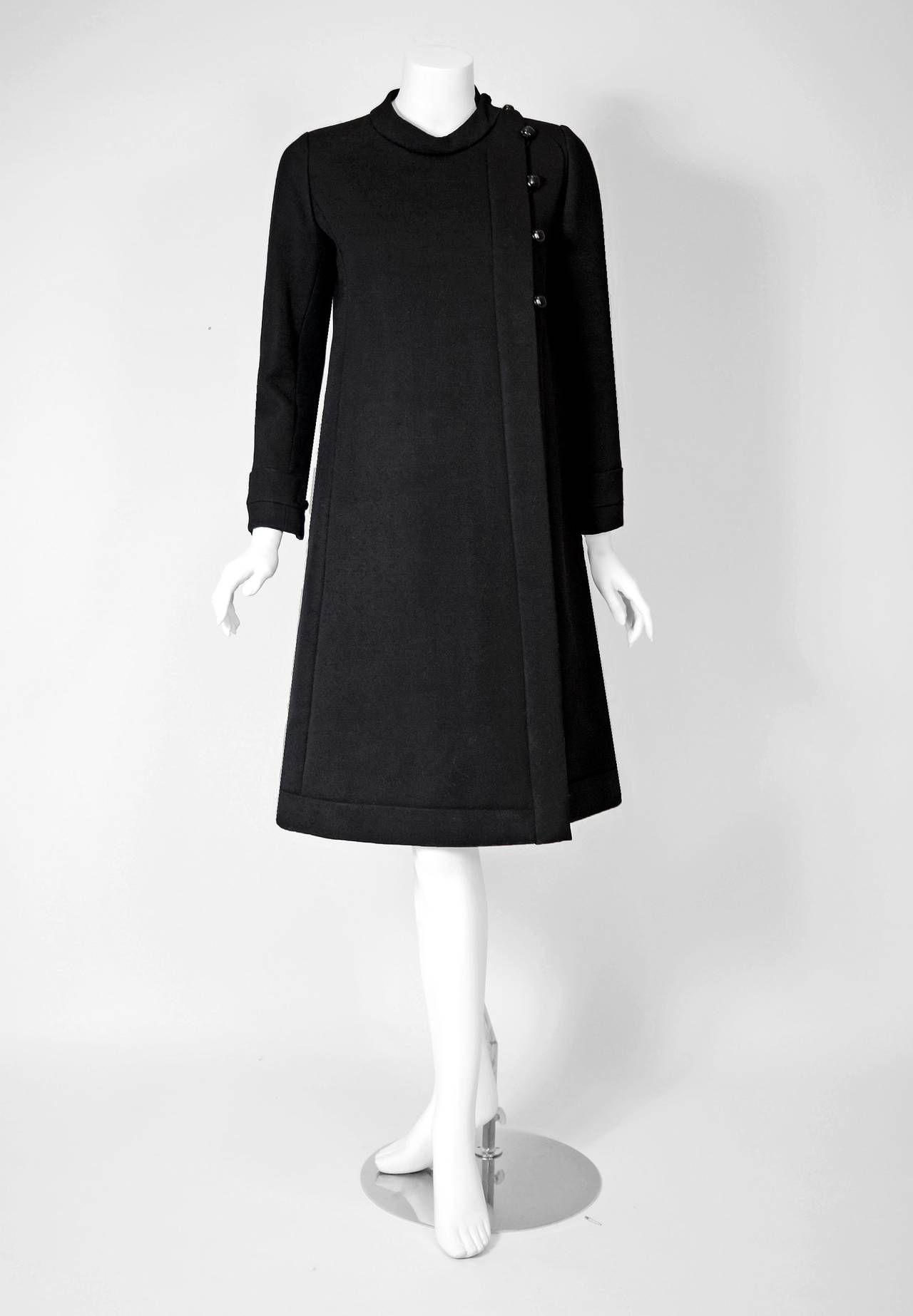 57ea78e56c1 1960 s Ronald Amey Black Tailored Silk-Twill Mod Space-Age Cocktail Dress   amp