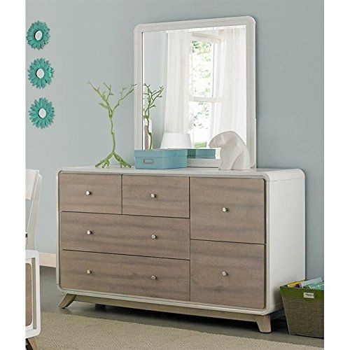 Ne Kids East End 6 Drawer Dresser With Mirror In White And Taupe