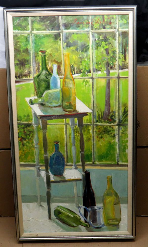 Signed Amanda Eller Kirby Oil Painting,38x20,Hoosier Salon,Indiana Estate Find