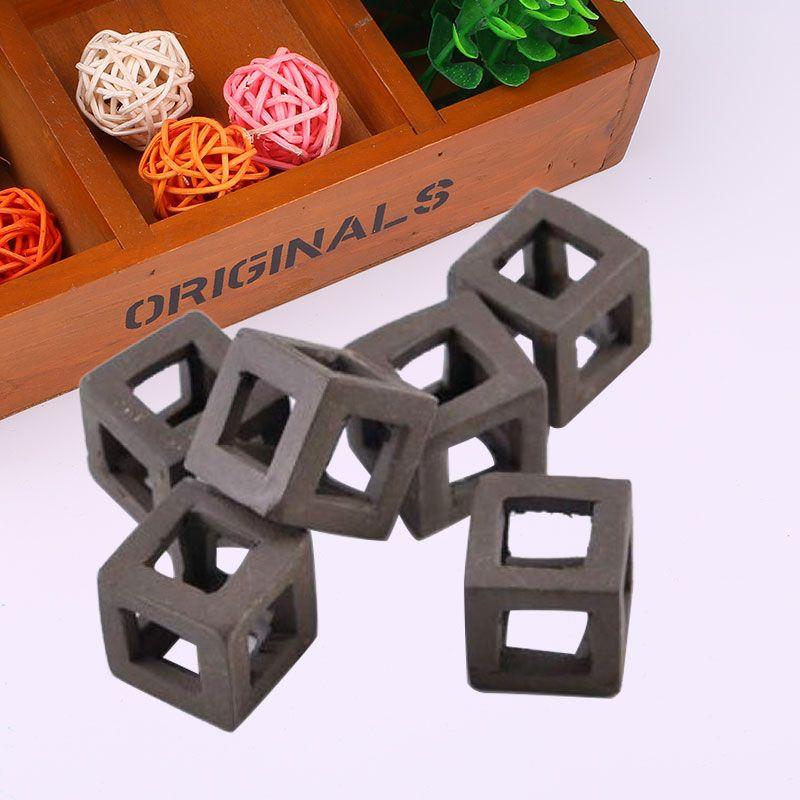 5Pcs Hiding Cave Cichlid Ceramic Stone Aquarium Ornament Cube Frame DIY