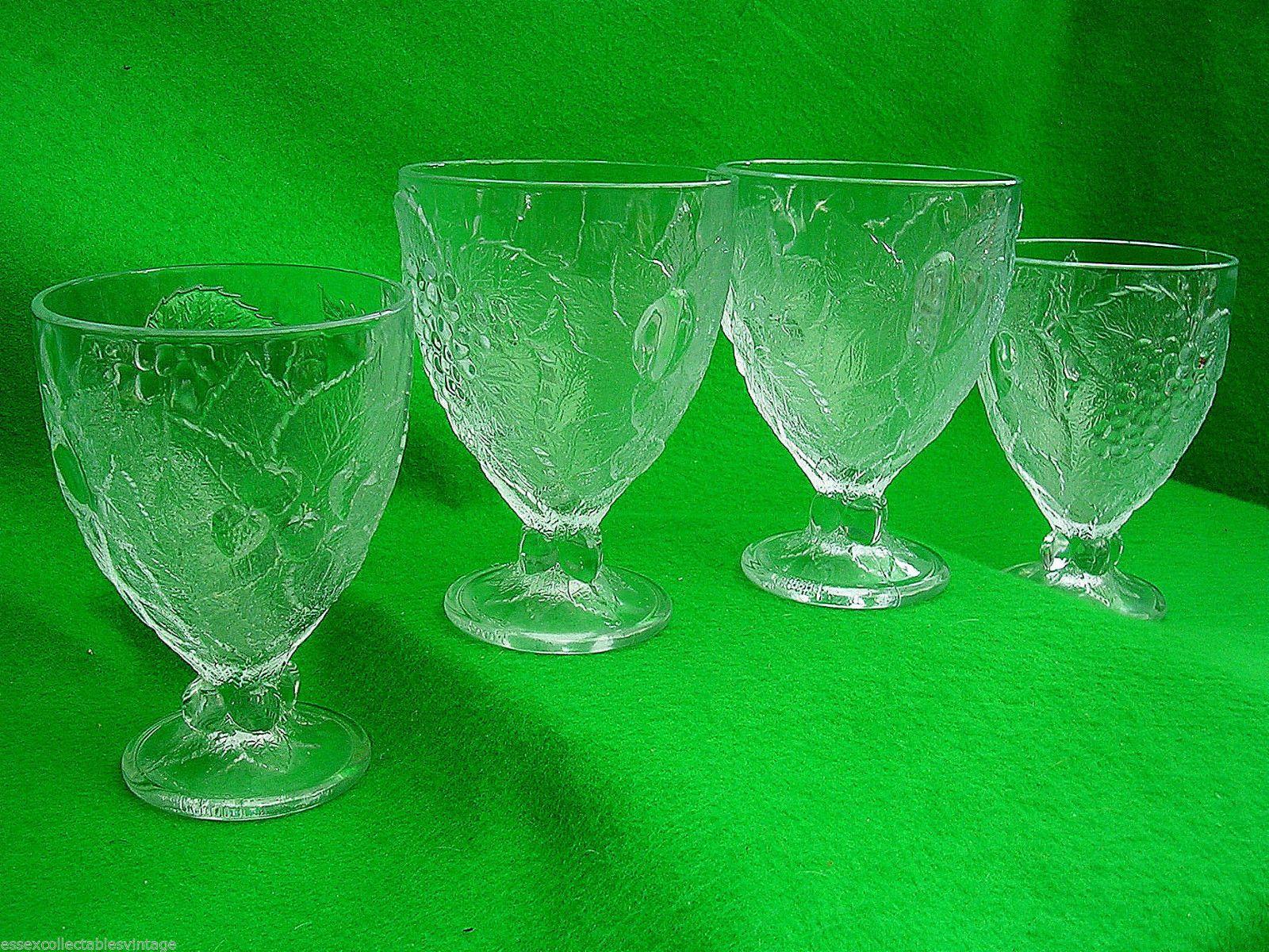 Retro Vintage Set 4 Glass Stemmed Dessert Sorbet Sundae Dishes Bowls Fruit | eBay