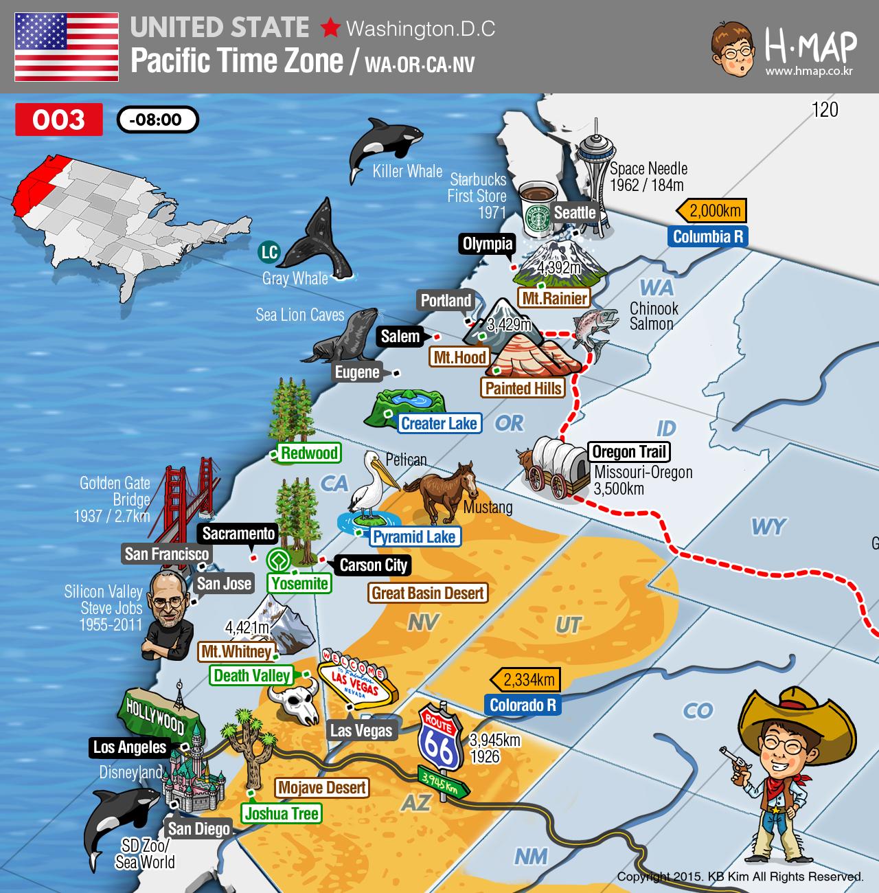 Pacific Time Zone Map Washington Oregon California Nevada - World map time zones now