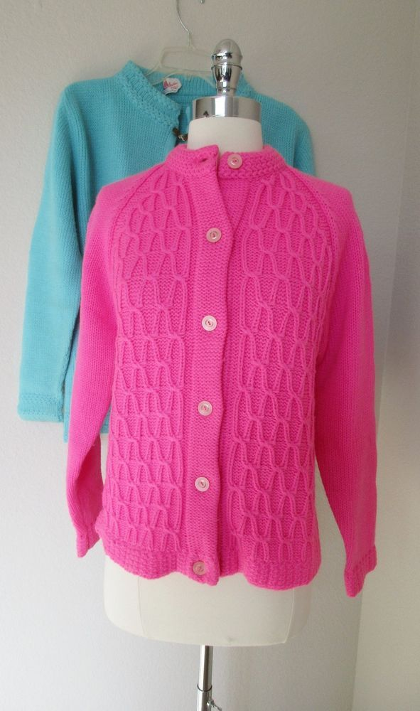 60s Hot Pink Cardigan Sweater Paula Acrylic Button Down Cable Knit