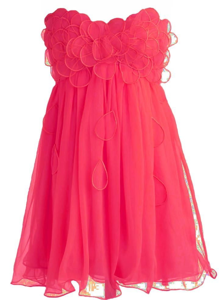 Fuchsia Petal Frock: Features an elegant strapless cut defined by a darling sweetheart bustline, dozens of sheer organza petals clustered at the bodice and cascading down the front, centered back zip closure, and a twirl-worthy chiffon skirt to finish.