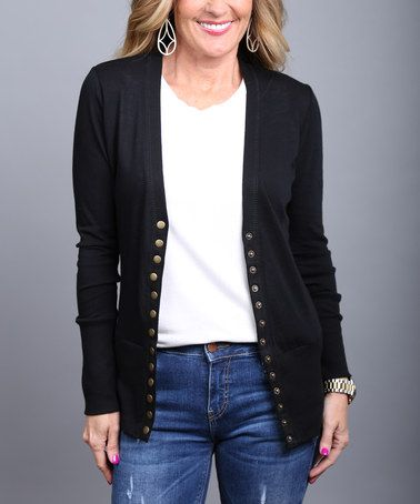 Another great find on #zulily! Black Button-Up Cardigan - Women by ...