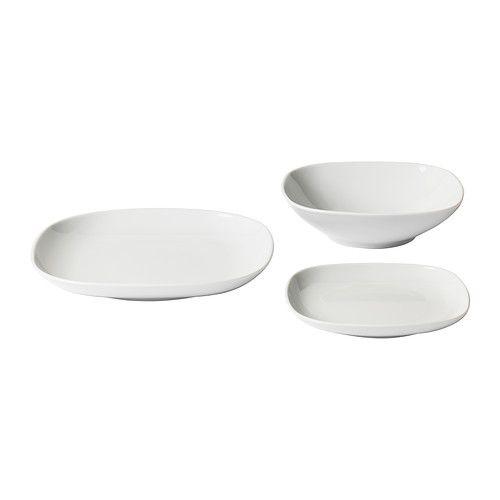 IKEA White Rectangular Dinner Plates