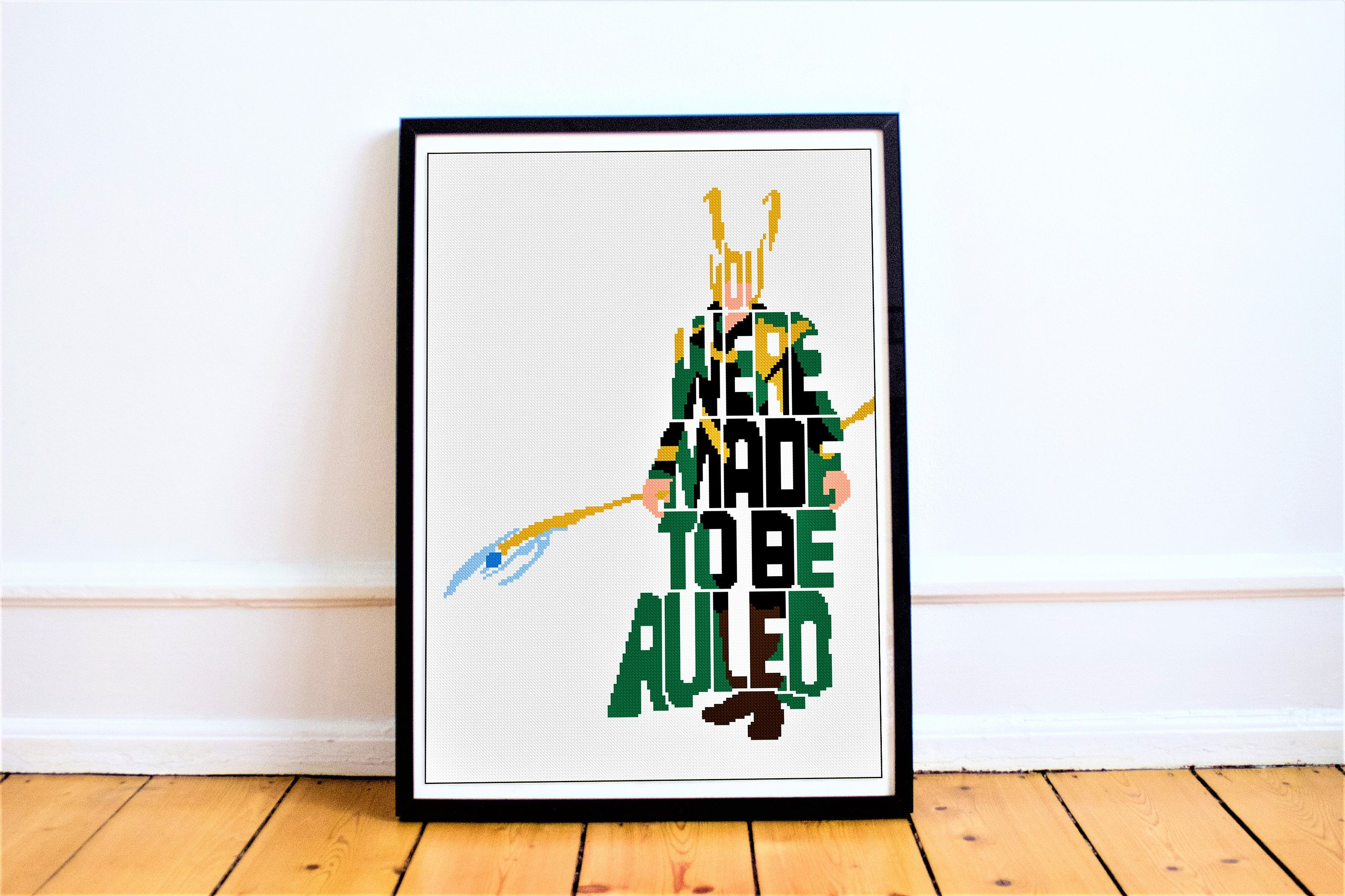 Marvel loki cross stitch pattern quote
