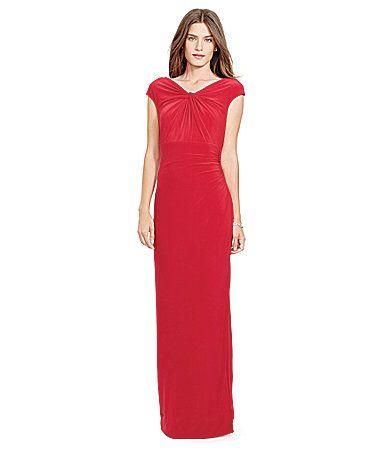 Lauren Ralph Lauren Ruched Vneckline Gown Dillards Formal Dress