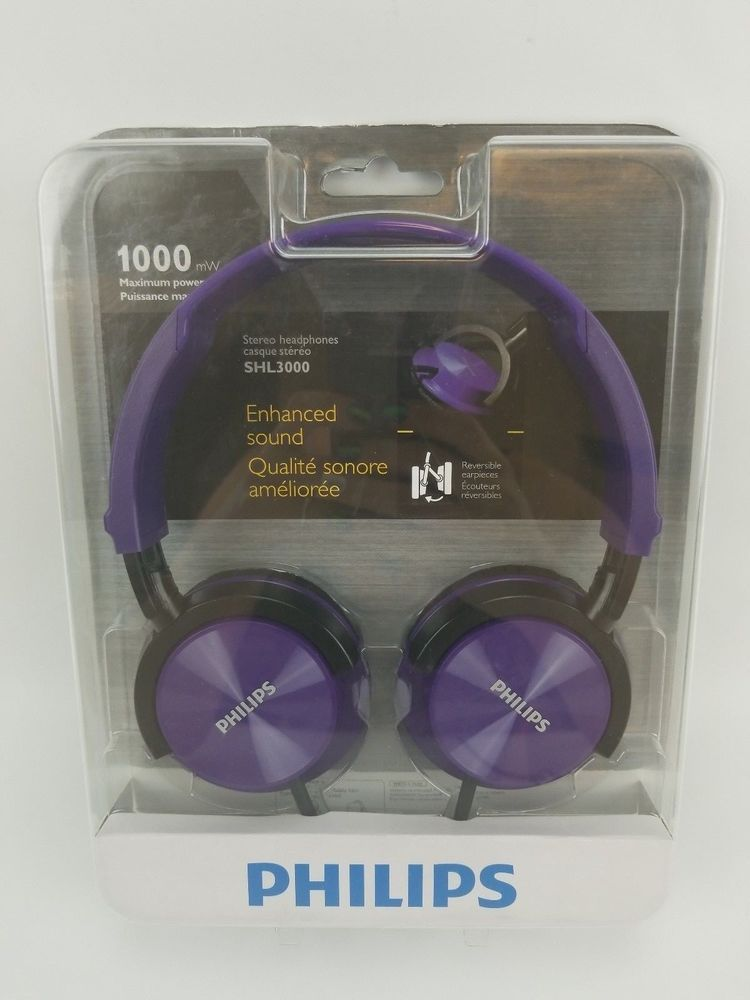3eada79e03b Philips Stereo Headphones SHL3000PP Purple Dj Monitor Reversible Style New  (eBay Link)