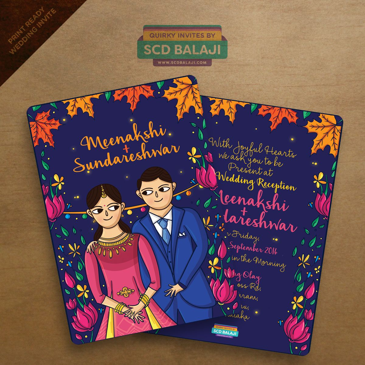 Indian Wedding Reception Invitation Card Illustration and Design