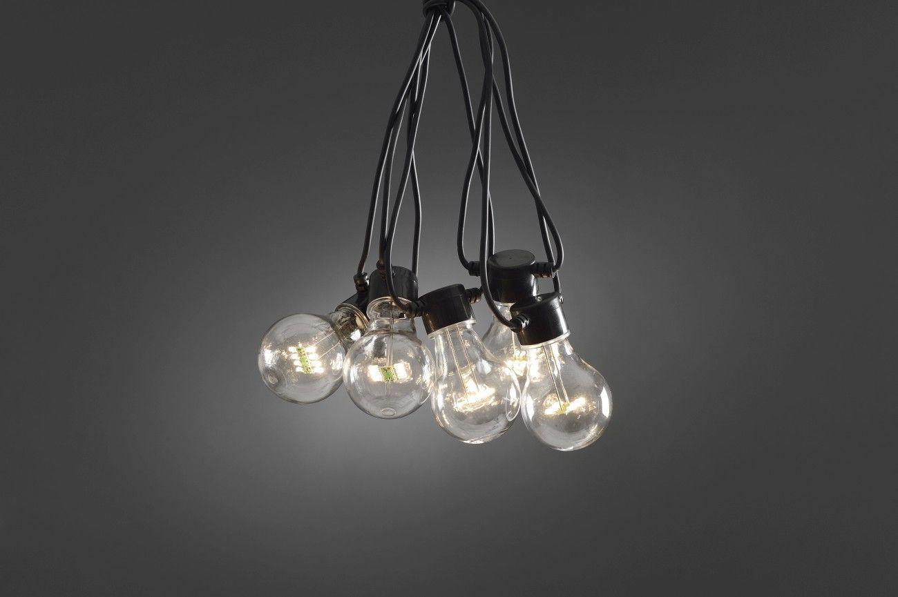 Party lichtsnoer LED verlichting zwarte kabel 10 heldere LED lampen
