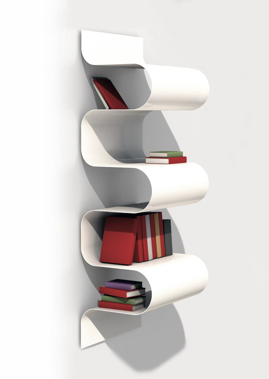Objet En Aluminium wave aluminium bookshelfvidame creation made in france on