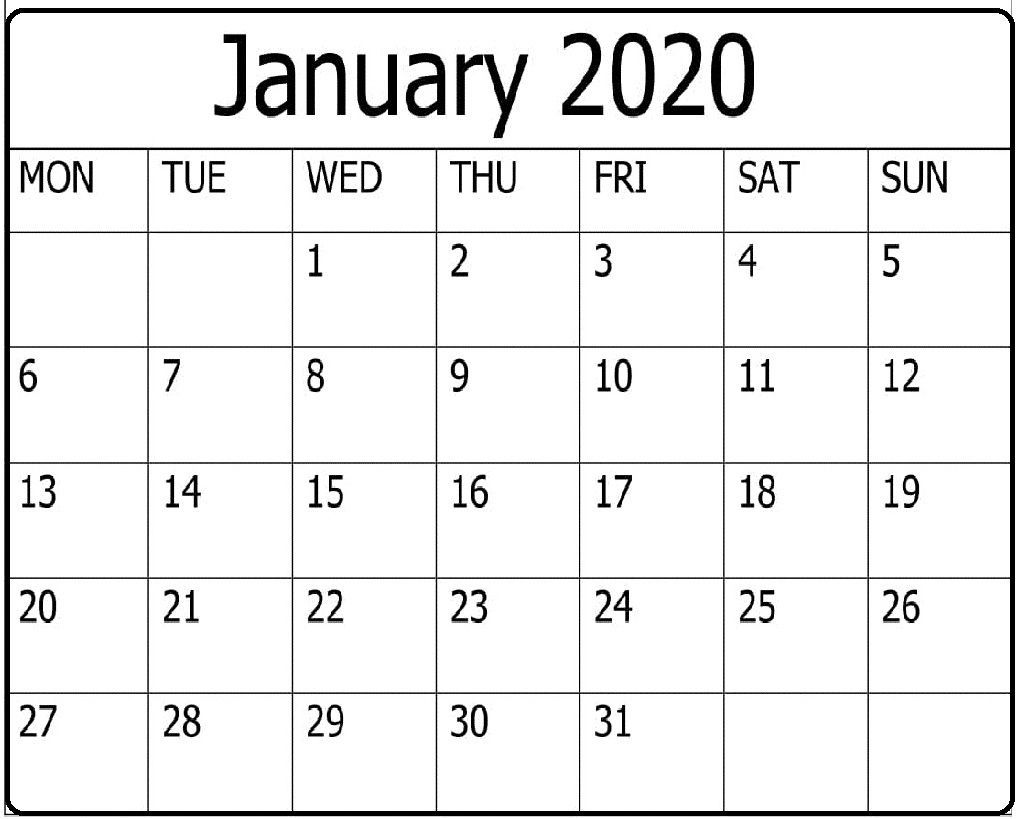 The Amazing Free Printable January 2020 Calendar Word Template Free Within B Amazing Word Wall Template Word Template Calendar Word