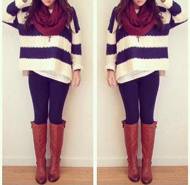 Fall Tumblr outfit Navy-and-white striped oversized sweater with a ...
