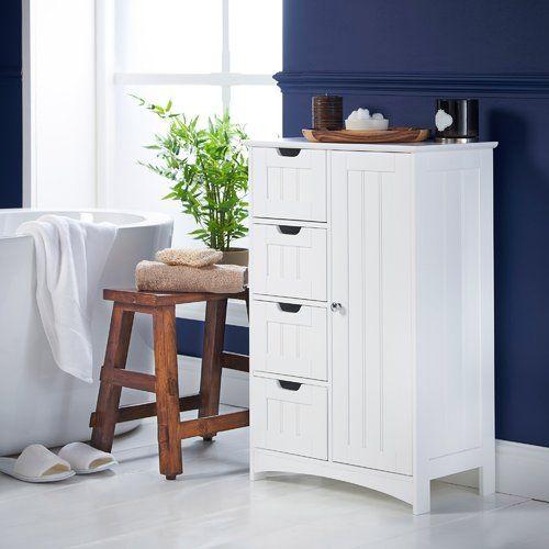 Cape Castle 55 X 82cm Freestanding Cabinet Vonhaus White Bathroom Storage Sideboard Storage Bathroom Storage Units