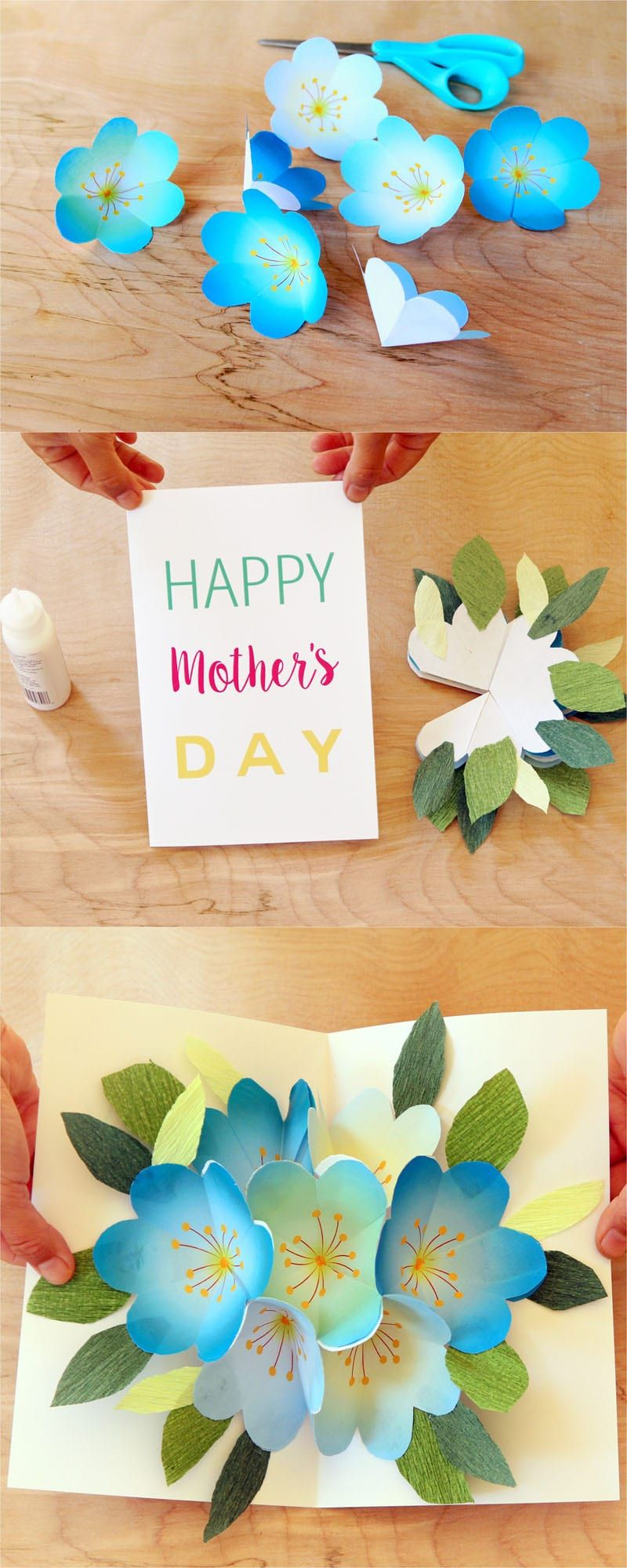 Pop up flowers diy printable motherus day card cards pinterest