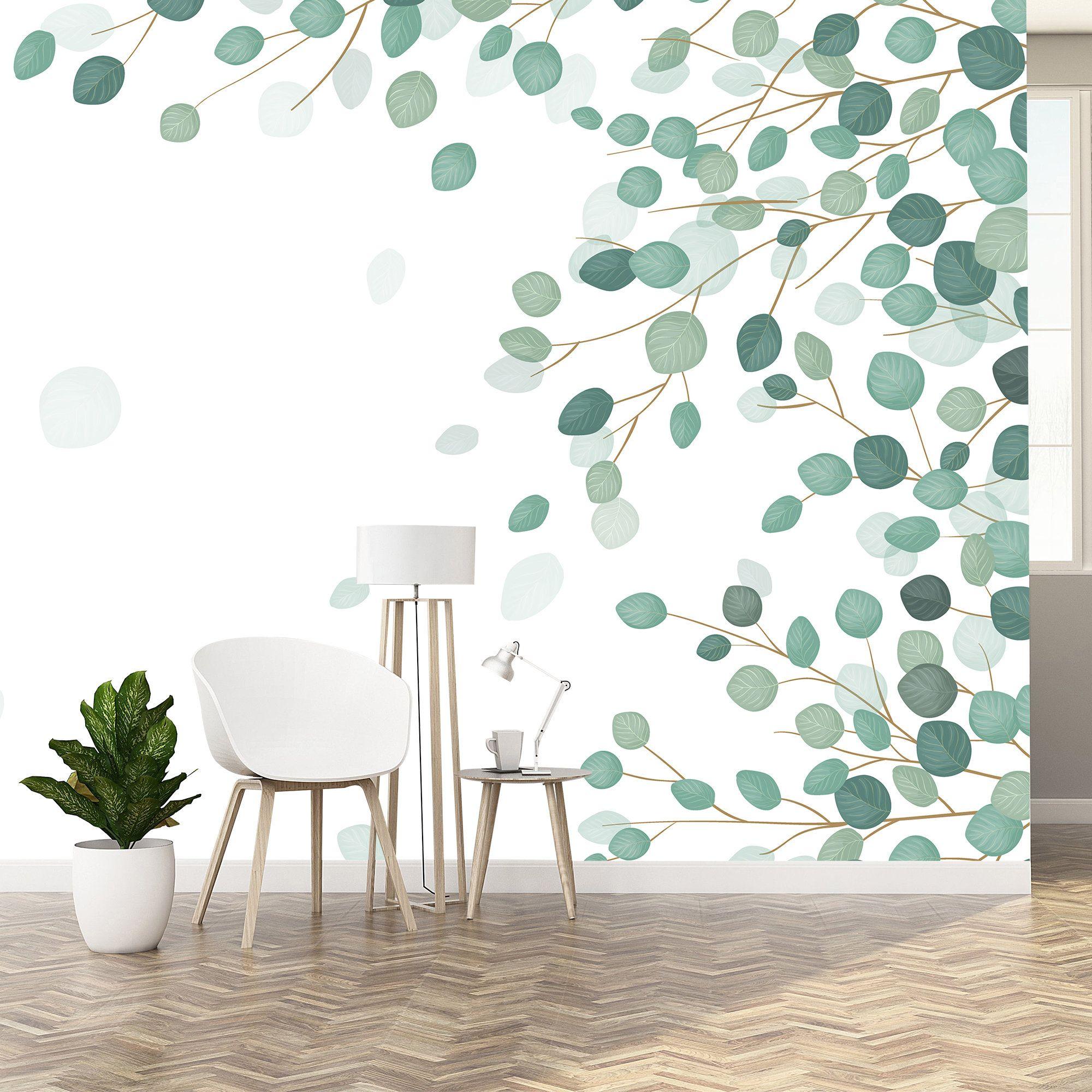 Eucalyptus Leaf Wallpaper Removable Wallpaper Leaf Wall Mural Peel Stick Made In Europe Self Adhesive Non Toxic 18 Leaf Wallpaper Removable Wallpaper Wallpaper Walls Decor