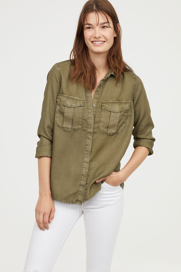 742f28a83500 Lyocell Utility Shirt - Khaki green - Ladies