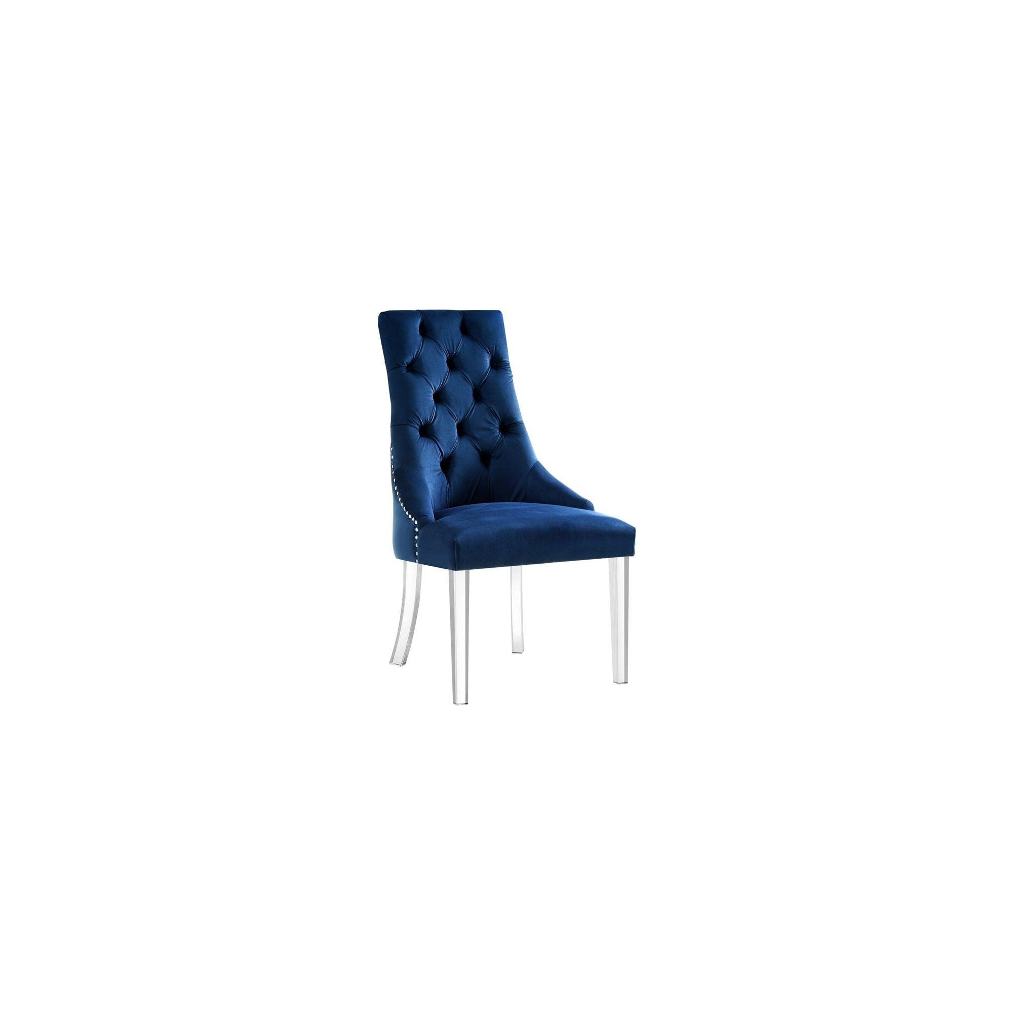 Colton blue velvet dining chair set of 2 armless