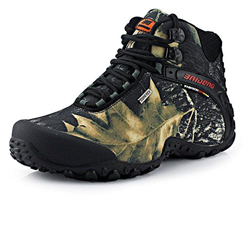1a1bc2eb4f8a6 GOMNEAR Mens Waterproof Canvas Hiking Boots Wear Resistant Rubber ...