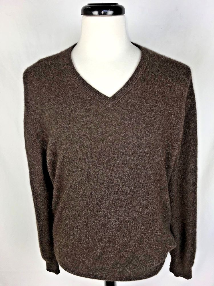 Jos A Bank Sweater Mens L Brown Cashmere Long Sleeve Josabank Vneck Long Sleeve Sweater Cashmere Sweaters Sweaters