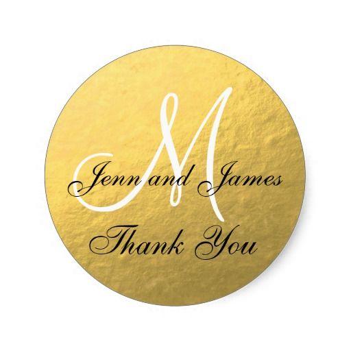 c568fb0dd82d Gold Black Wedding Favor Sticker Initial   Zazzle.com   Elegant Gold ...