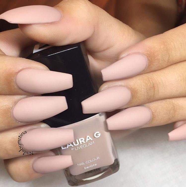 Matte nude coffin nails | nails | Pinterest | Coffin nails, Nude and ...