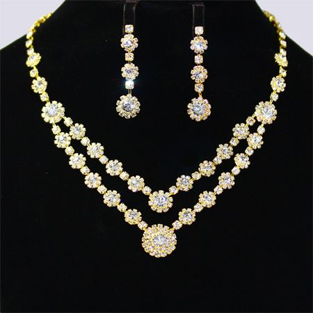 sets item simple four fashion jewelry bridal earrings british wedding gold liffly elegant necklace set crystal