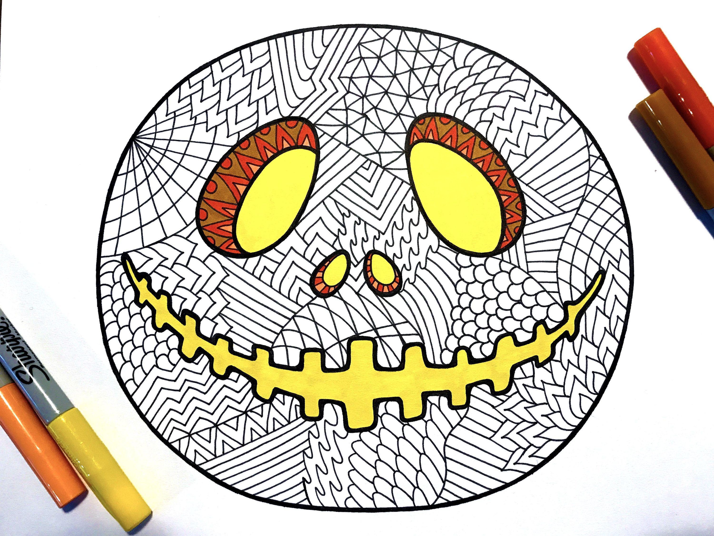 Jack Pumpkin PDF Zentangle Coloring Page