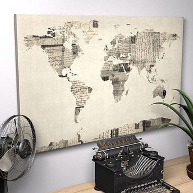 Vintage style postcard world map print black classic timeless vintage style postcard world map print gumiabroncs Image collections