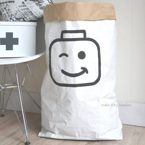 Lego// paper bag hand painted, storage of toys, books, teddybears ...