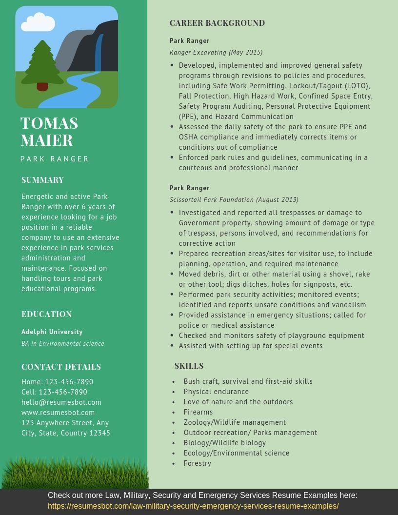 Park Ranger Resume Samples And Tips Pdf Doc Templates 2021 Park Ranger Resumes Bot Resume Examples Resume Template Examples Park Ranger