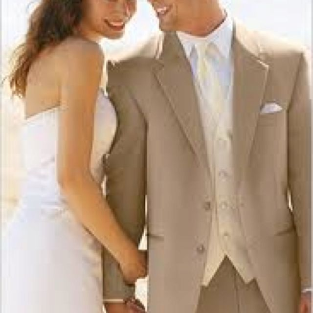 Tan Tux For Groom With Ivory Vest To Match Dress