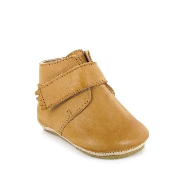 By French brand Easy Peasy; Natural/ Tan boot style slipper. Chemical-free, eco-friendly, vegetable-tanned, leather lined, and a textured natural rubber sole