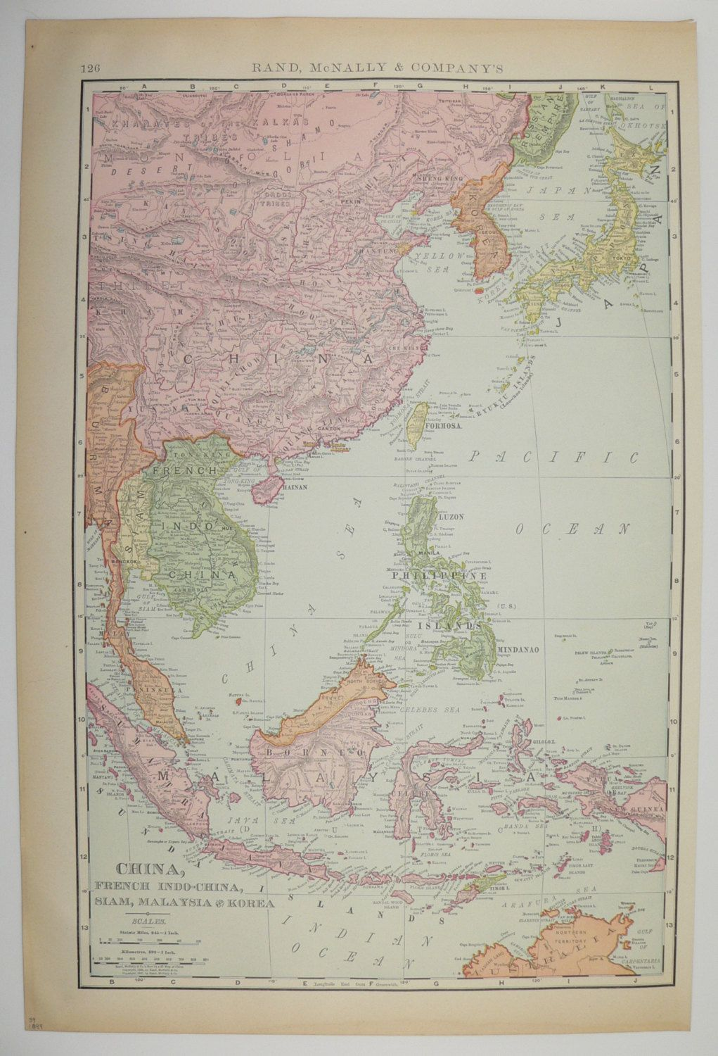 Old china malaysia korea map antique siam vintage 1899 japan taiwan old china malaysia korea map antique siam vintage 1899 japan taiwan philippines borneo java sumatra travel gumiabroncs Images