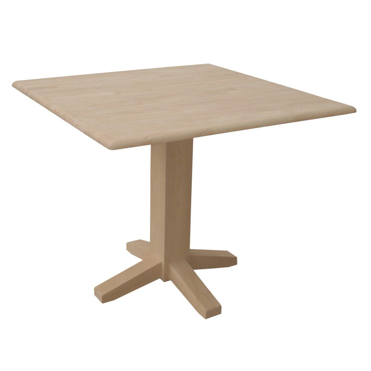 Unfinished Drop Leaf Square Pedestal Table 36 X 36 Wwt36sdp