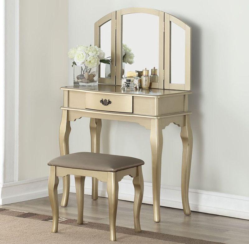 Poundex F4070 3 Pc Champagne Finish Wood Make Up Bedroom