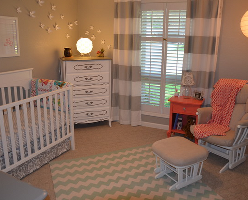 Nursery Decor Ideas Picture Nursery With Striped Curtains In White