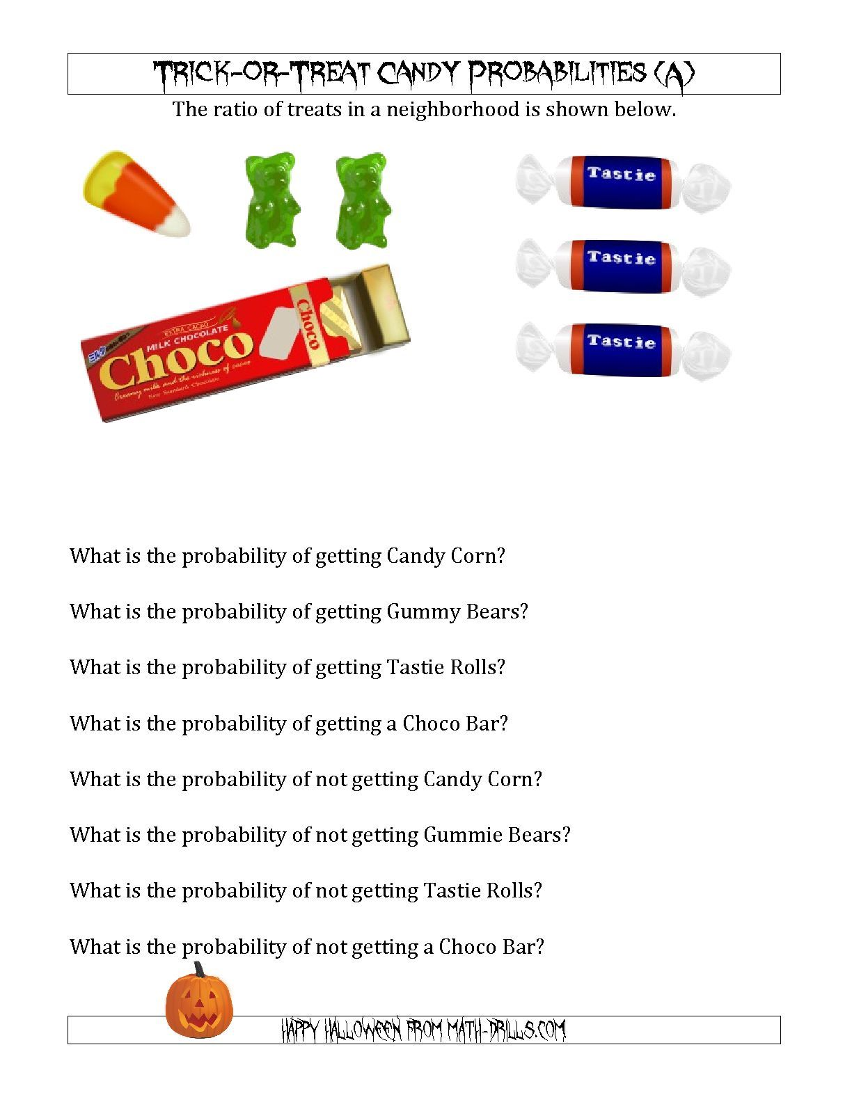 The Trick Or Treat Candy Probabilities A