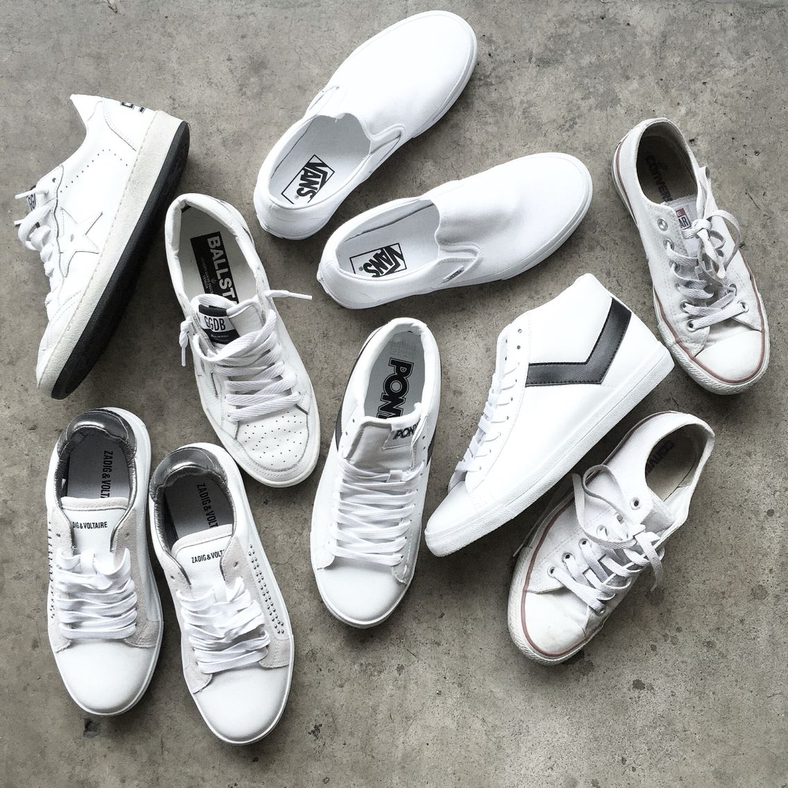 759bece0e0 White sneakers.  flatlay via OVRSLO