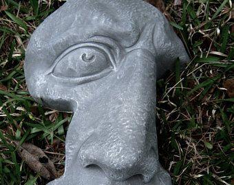 Rock Face, Concrete Garden Face, Cement Rock Face, Garden Decor, Concrete  Statues
