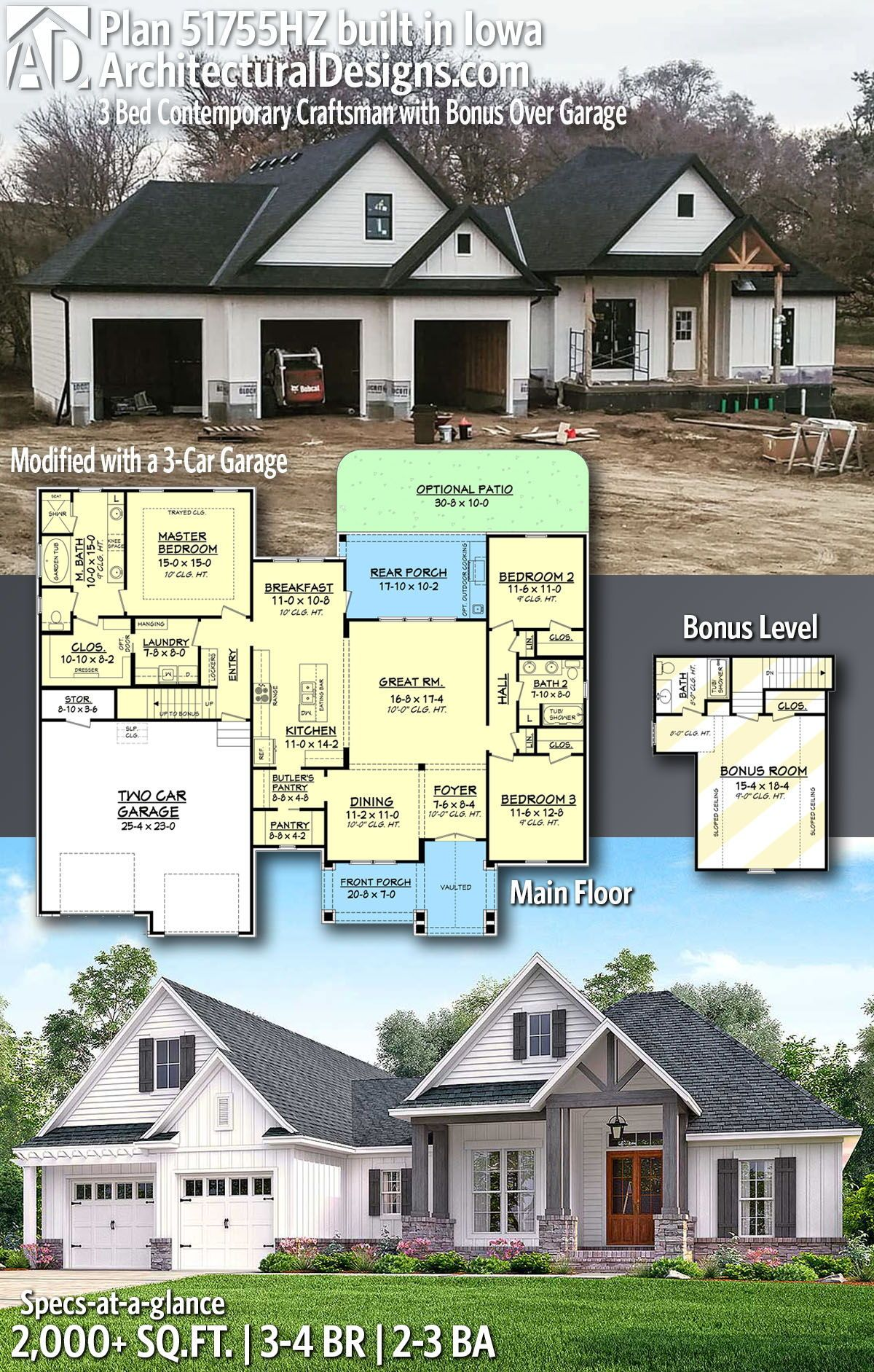 Plan 51755hz 3 Bed Contemporary Craftsman With Bonus Over Garage Craftsman House Plans Craftsman House New House Plans
