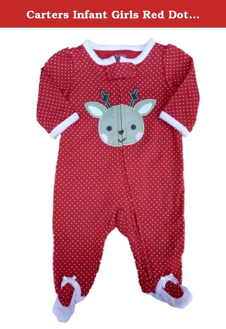 Carters Infant Girls Red Dot Holiday Sleeper Reindeer Sleep   Play Creeper  NB. This adorable a2a27ce41